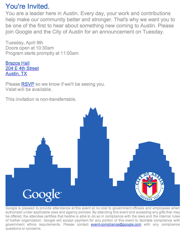 Google and city of Austin